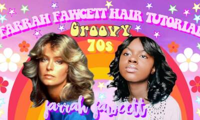 HOW TO GET FARRAH FAWCETT HAIR, FARRAH FAWCETT 70s CURLY HAIR TUTORIAL | Iyannah Pierre